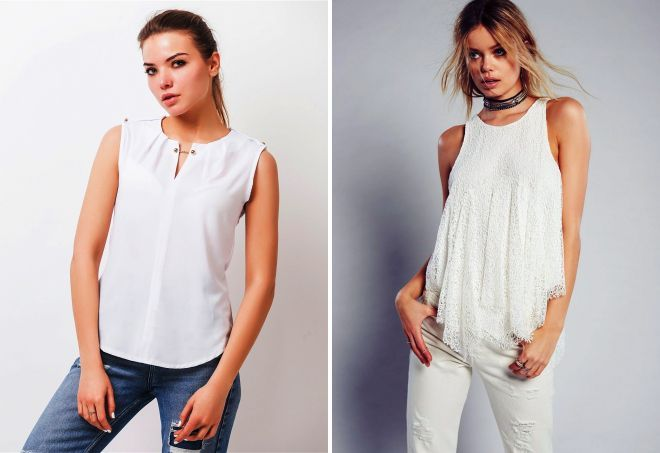 белая блузка без рукава