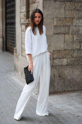 белай блузка и широкие брюки