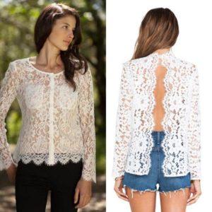 кружевная белая блузка
