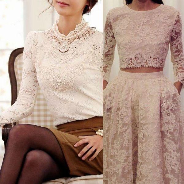 кружевная блузка и юбка