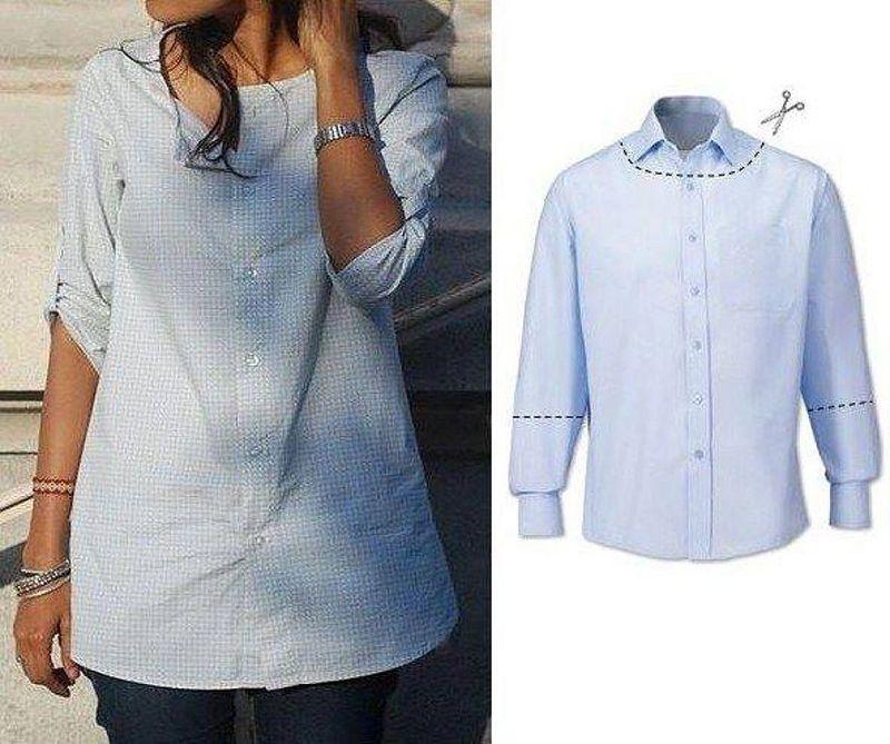 c5603629d0c Как из мужской рубашки сделать женскую тунику — инструкция по переделке